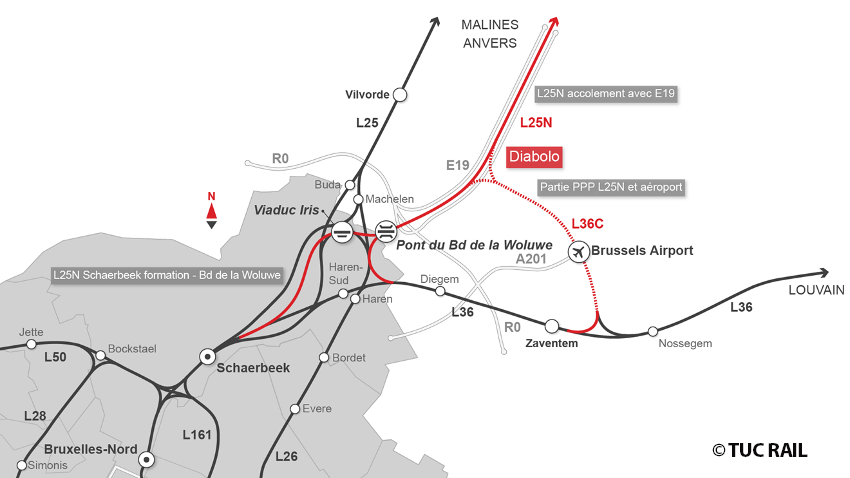 Northern Rail Link From Brussels Airport TUC RAIL - Brussels airport map