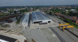 Aerial view of the new assembly halls in Bascoup