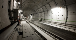 One of the two shafts of the bored tunnel under Brussels Airport.